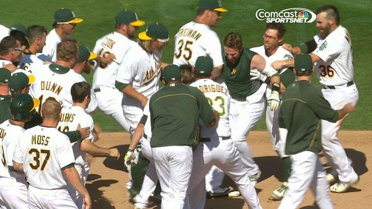 Walk-off single caps A's ninth-inning rally
