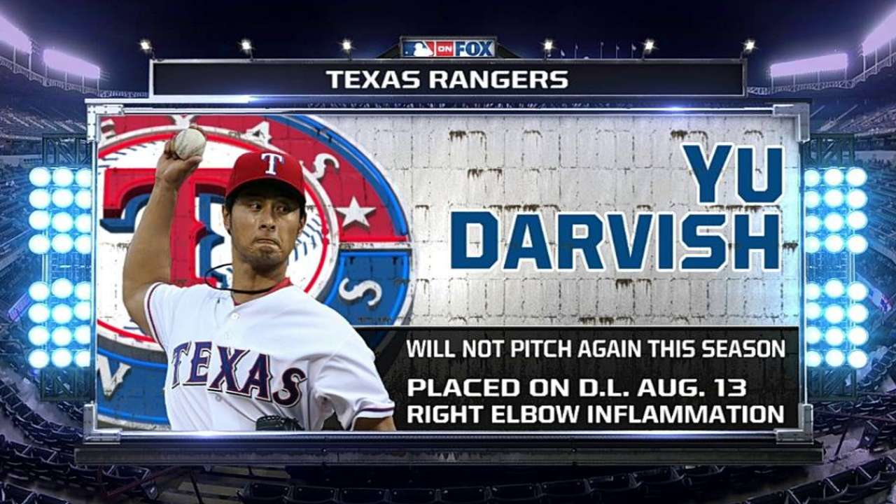 Rangers shut down Darvish for season