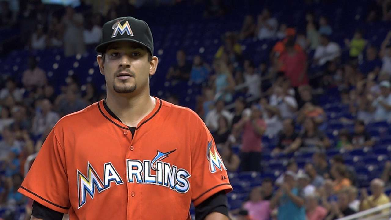Hand's spot start helps Marlins keep pace in race