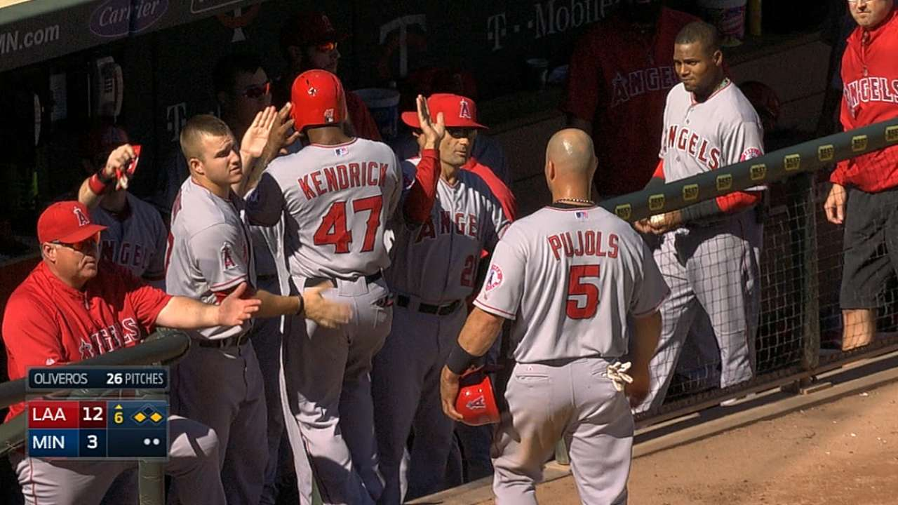 Angels crush three homers in rout of Twins
