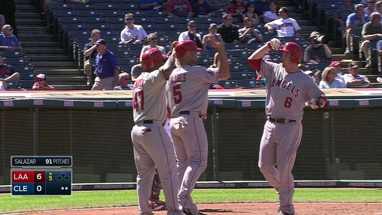Halos ride six-run inning to rout behind Weaver