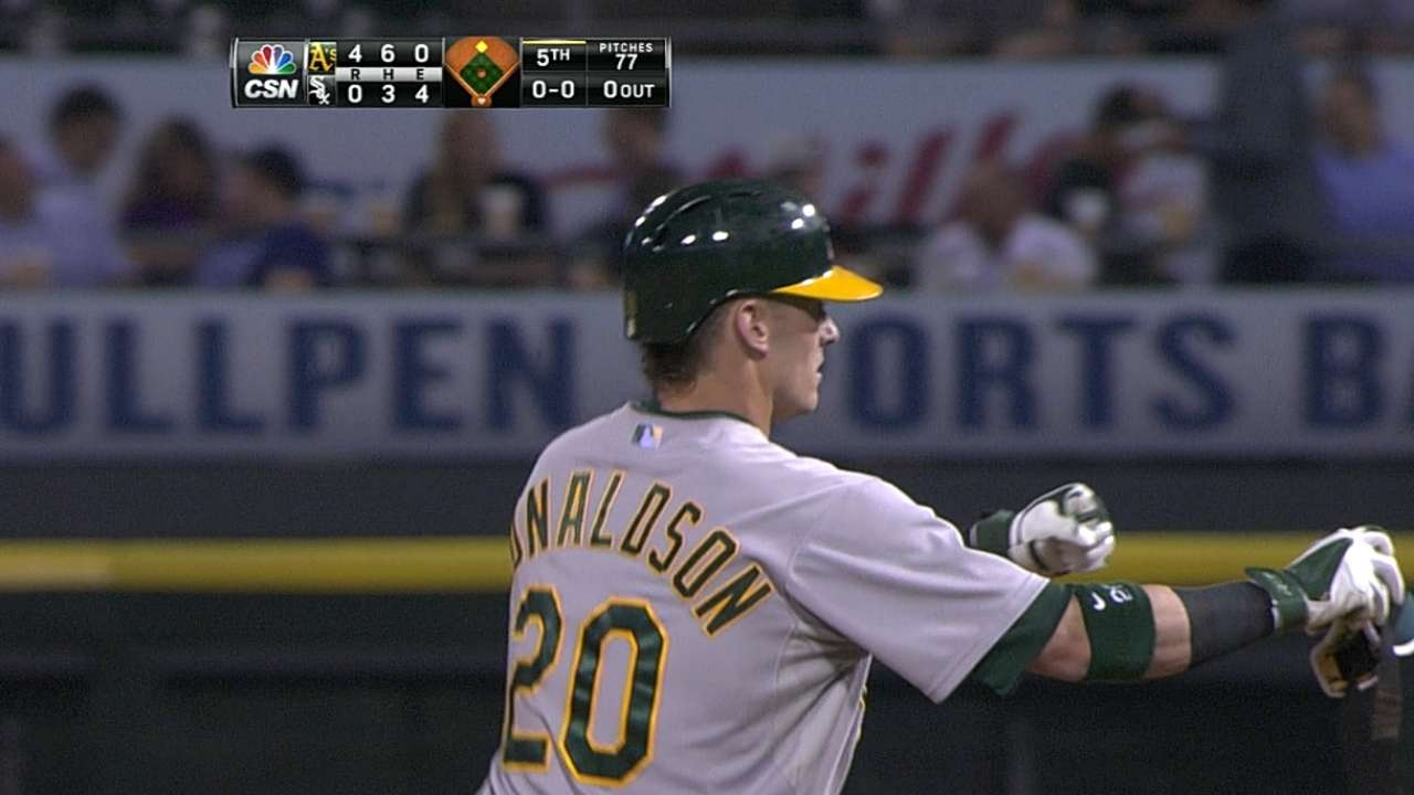 Donaldson pega 5 hits y Oakland apalea a Chicago