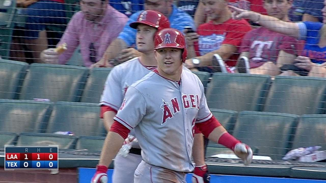 Trout joins elite group with 100th run scored
