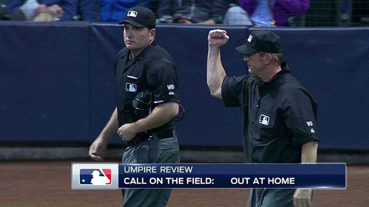 Out call stands on close play at the plate in Milwaukee