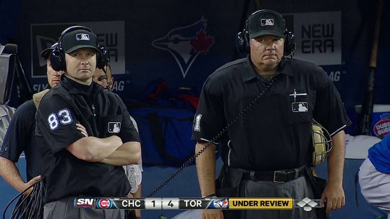 Out call confirmed at first base in Toronto