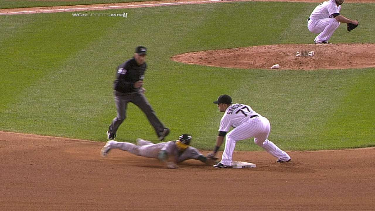Replay confirms out call on Crisp's steal attempt