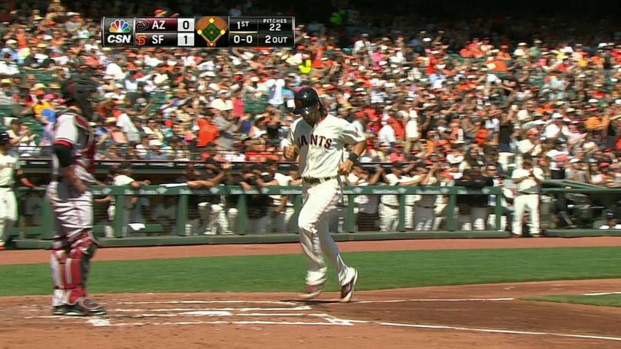 Giants sweep D-backs, gain ground in West race