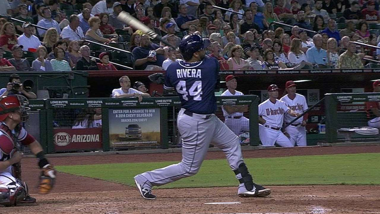 Six Padres drive in runs to edge D-backs