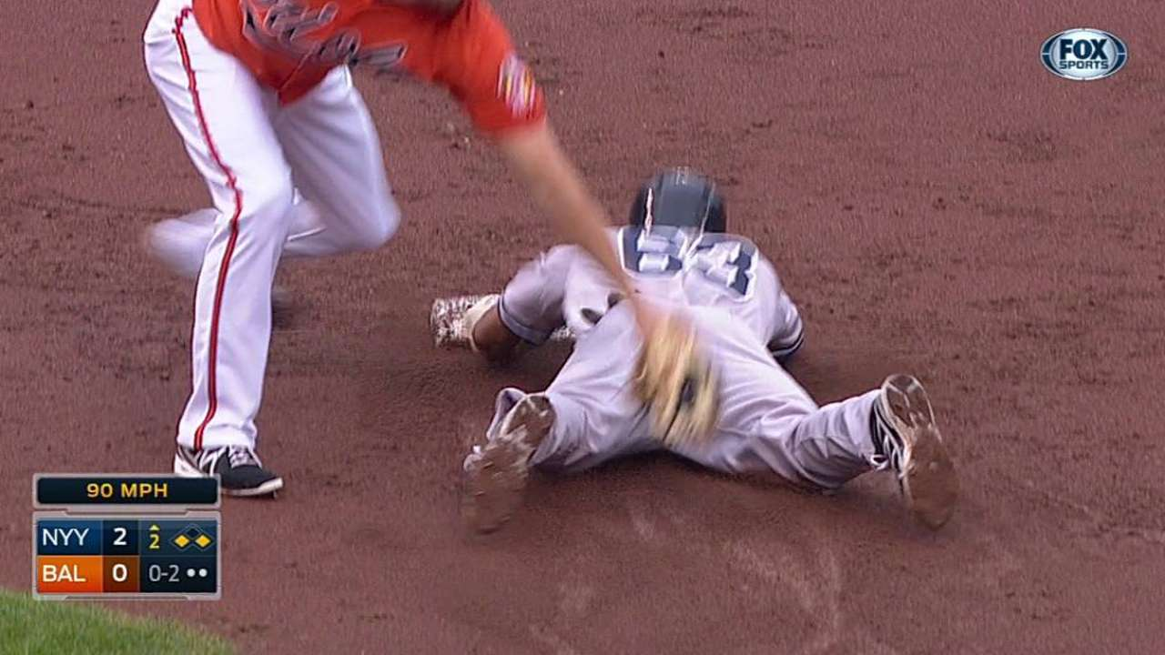 Yanks spark plug Young steals home vs. O's