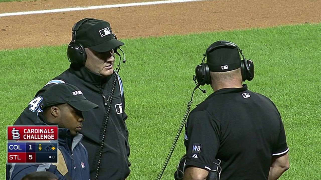 Replay used twice in ninth inning of Cards-Rockies
