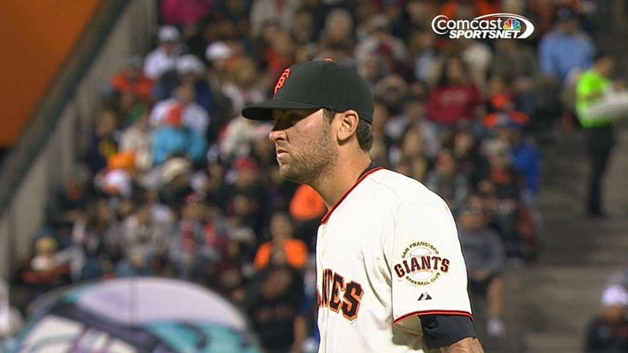 Bochy gives son MLB debut in tough spot