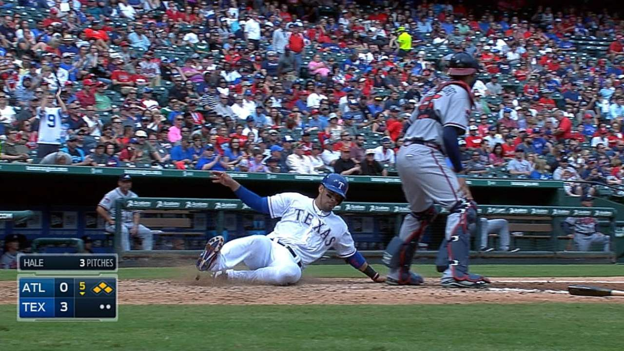 Rangers' bats break out to finish sweep of Braves