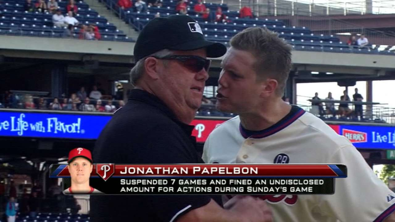 Papelbon suspended seven games for gesture