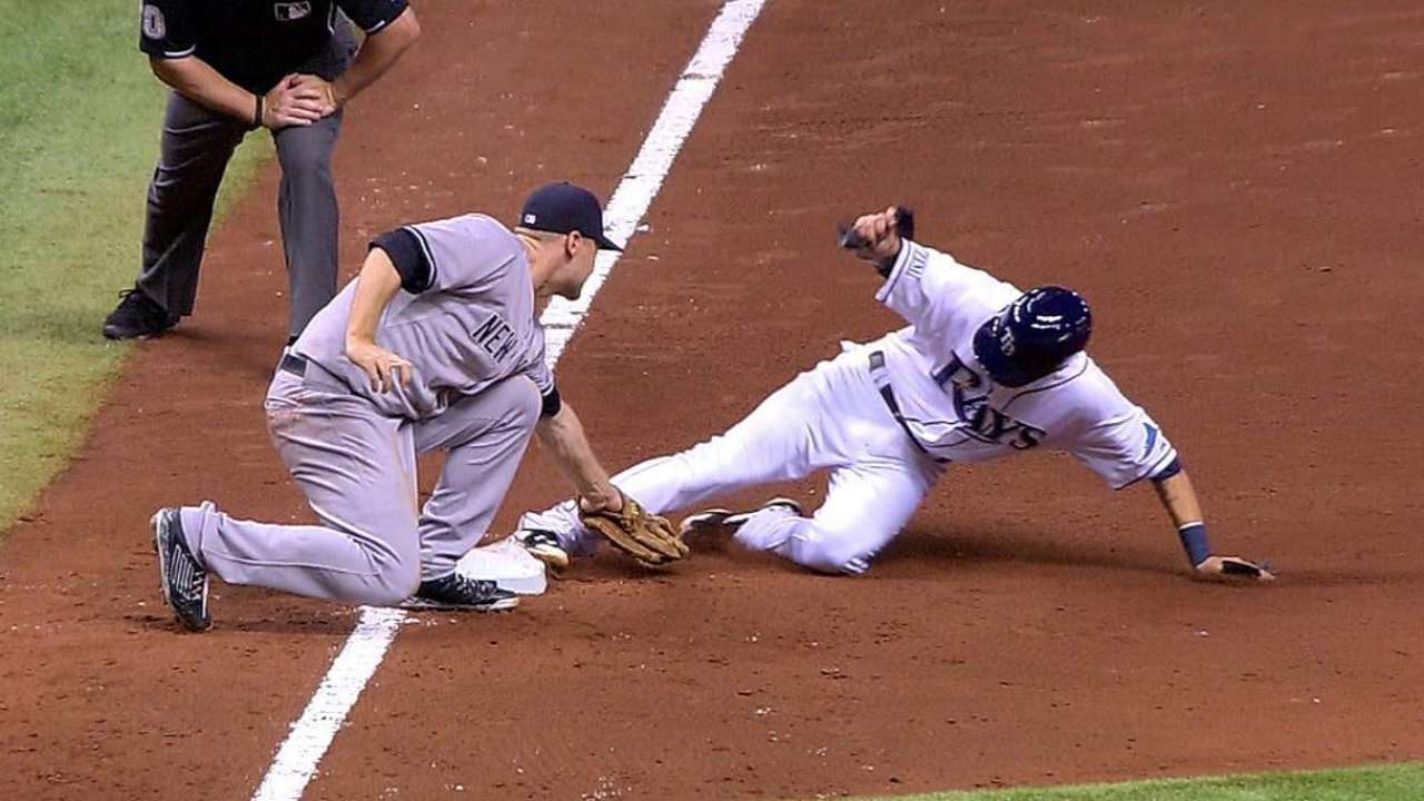 Rays successfully challenge out call at third