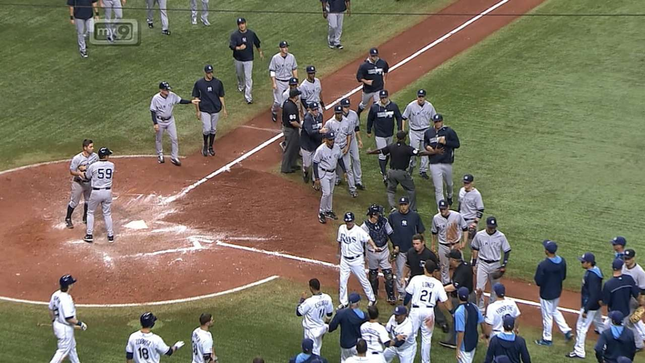 Girardi, Phelps, Pena ejected; benches clear