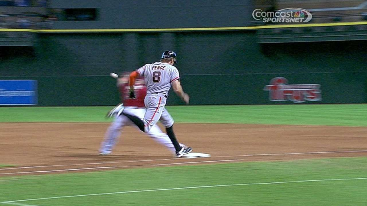Call stands as D-backs double up Pence