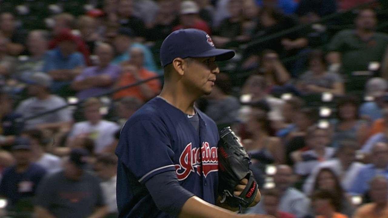 Carrasco throws two-hit shutout in Houston