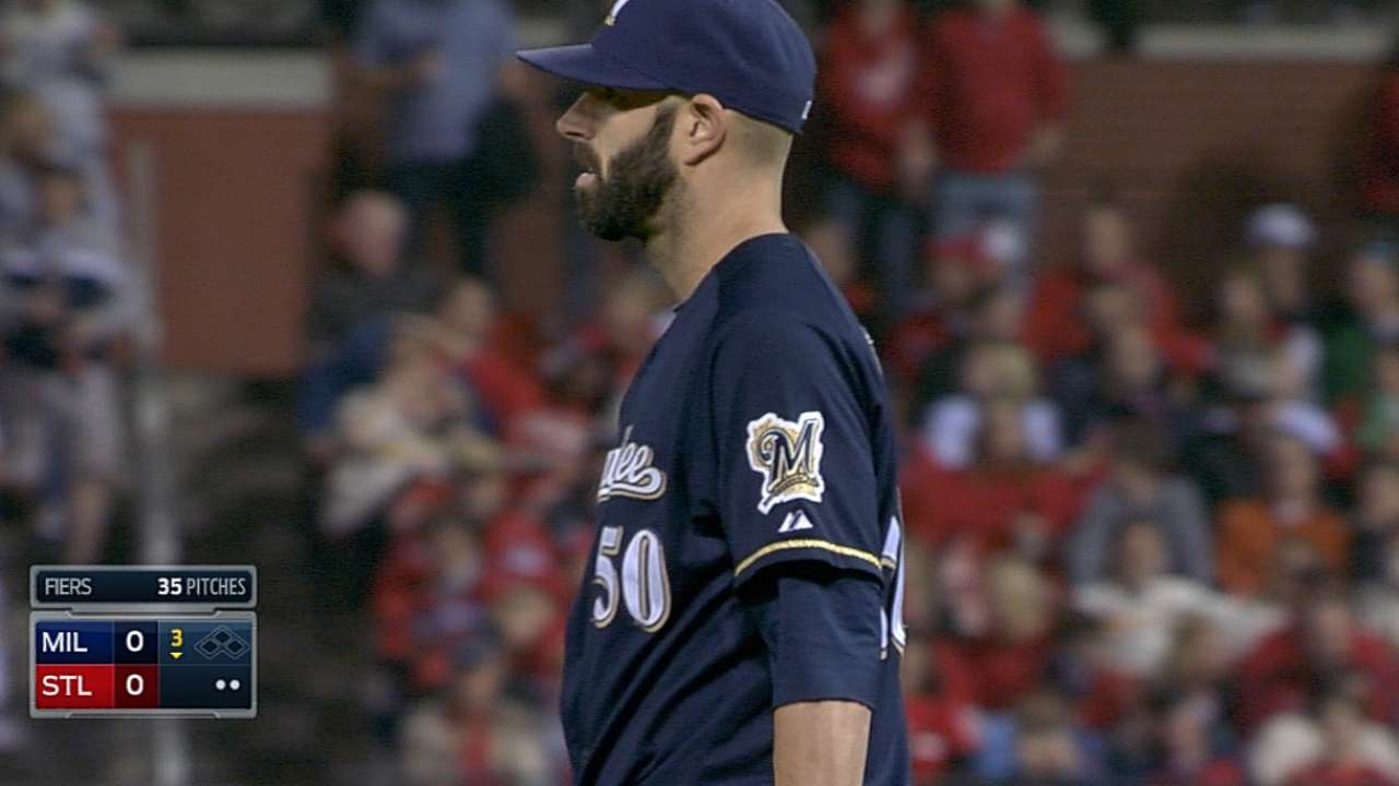 Fiers flirts with no-no, but Crew falls back in WC