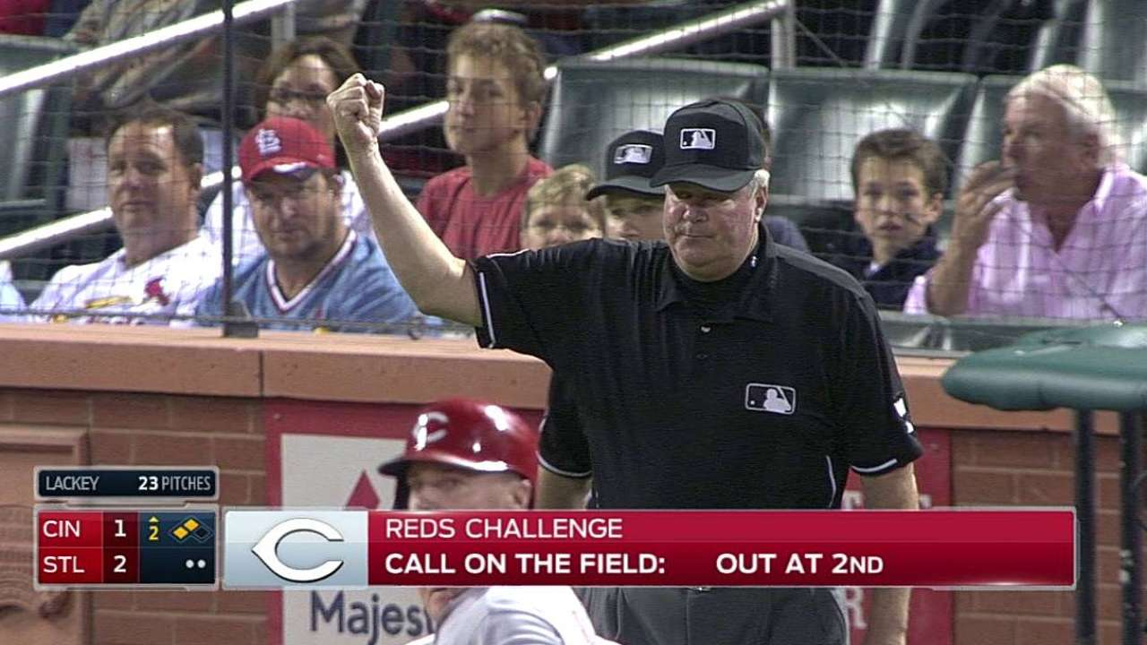 Cozart out at second as Reds lose challenge