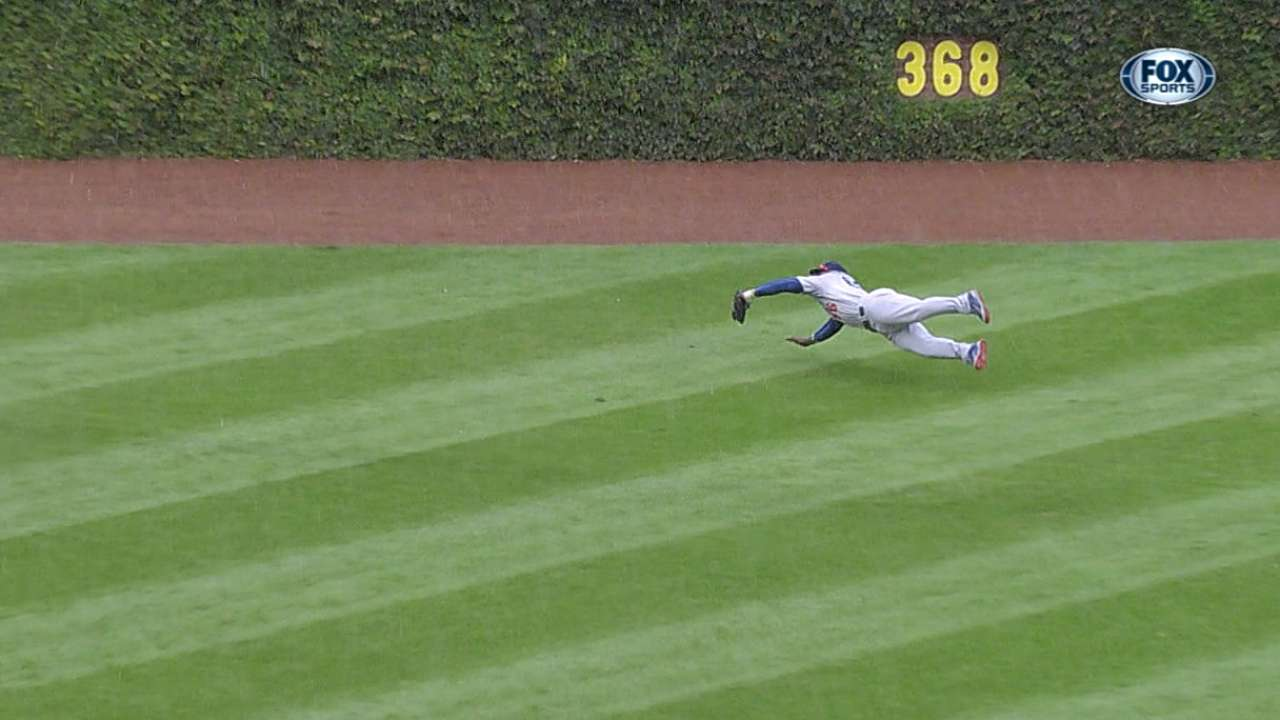 Flying Puig fully extends for run-saving catch