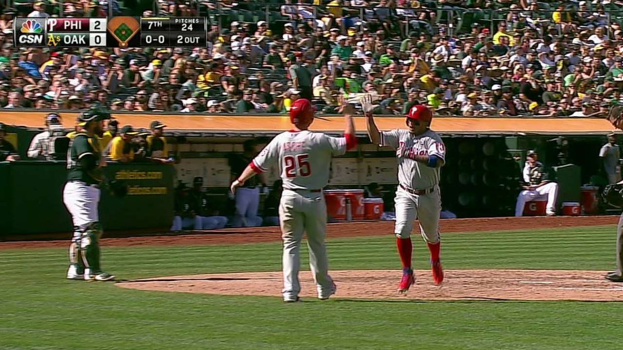 Galvis helps Williams earn historic 'W' over A's