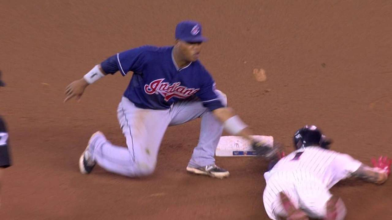 Indians replay challenge leads to inning-ending double play