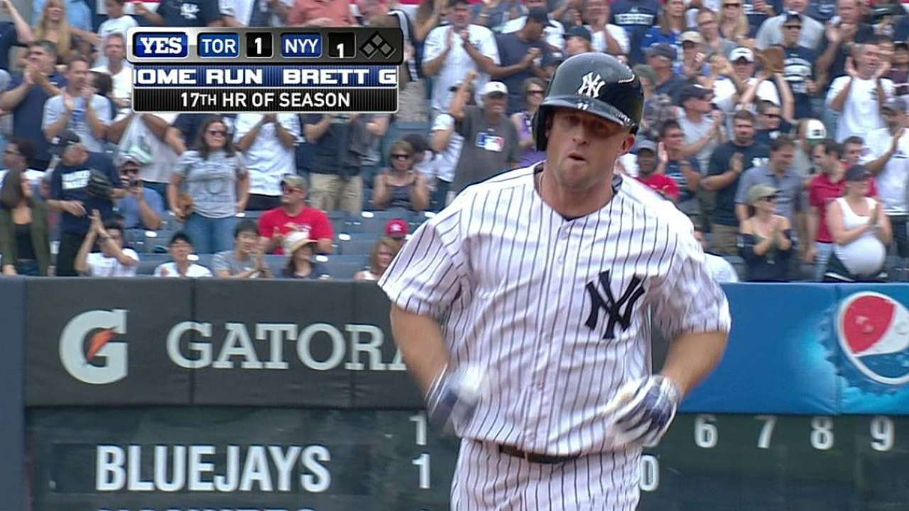 Gardner belts 15,000th homer in Yanks history