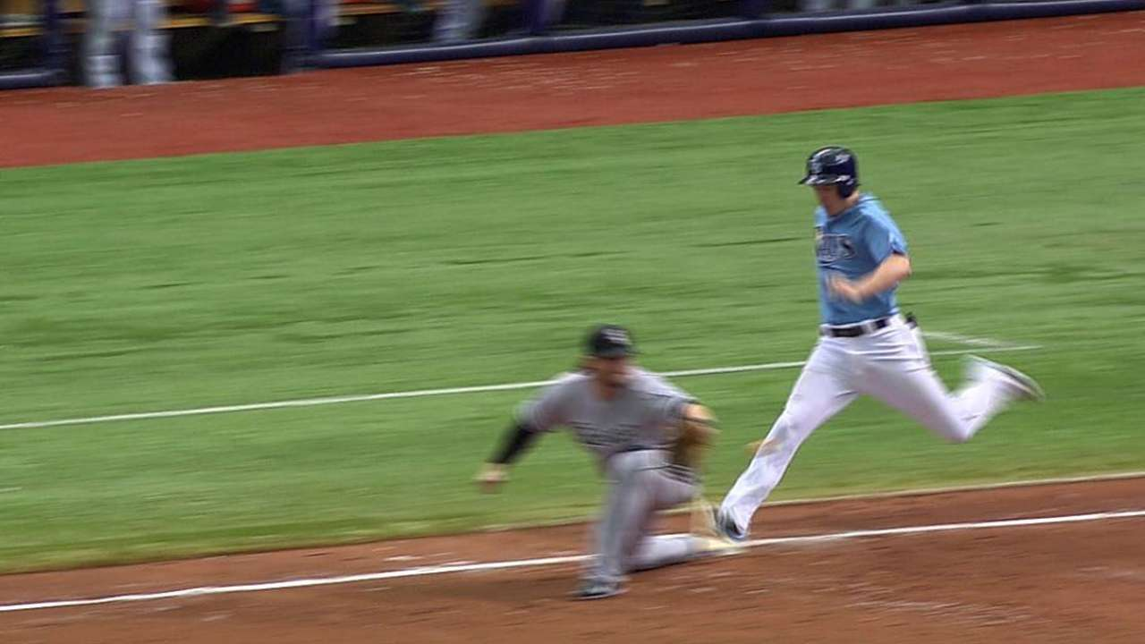 Rays add run after out at first overturned