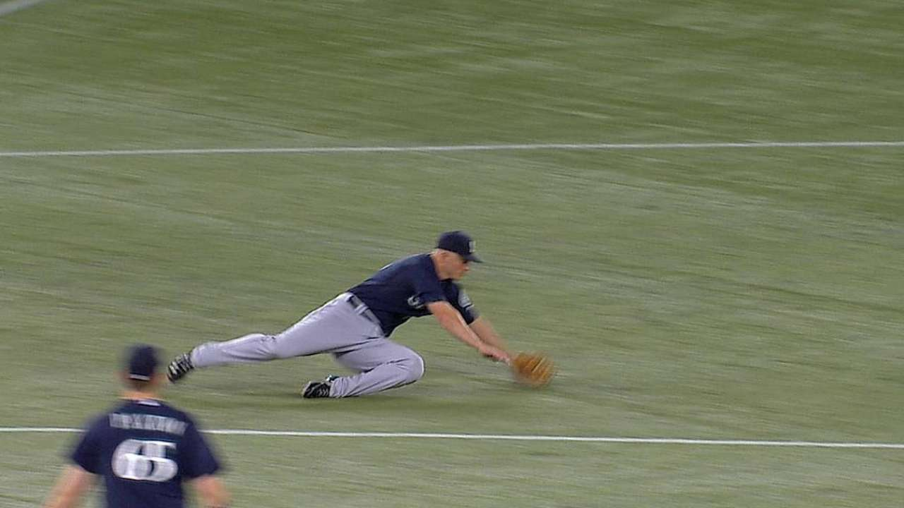 Seager flashes the leather