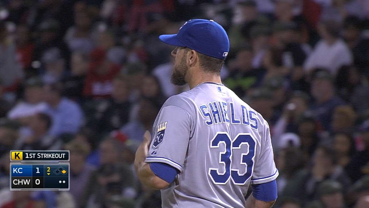 Shields off his game, but gives Royals shot