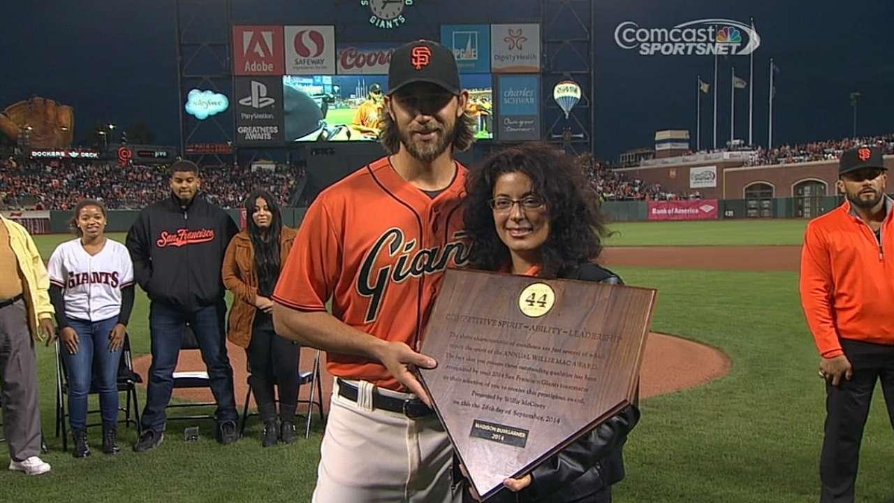 Bumgarner voted Giants' Willie Mac Award winner