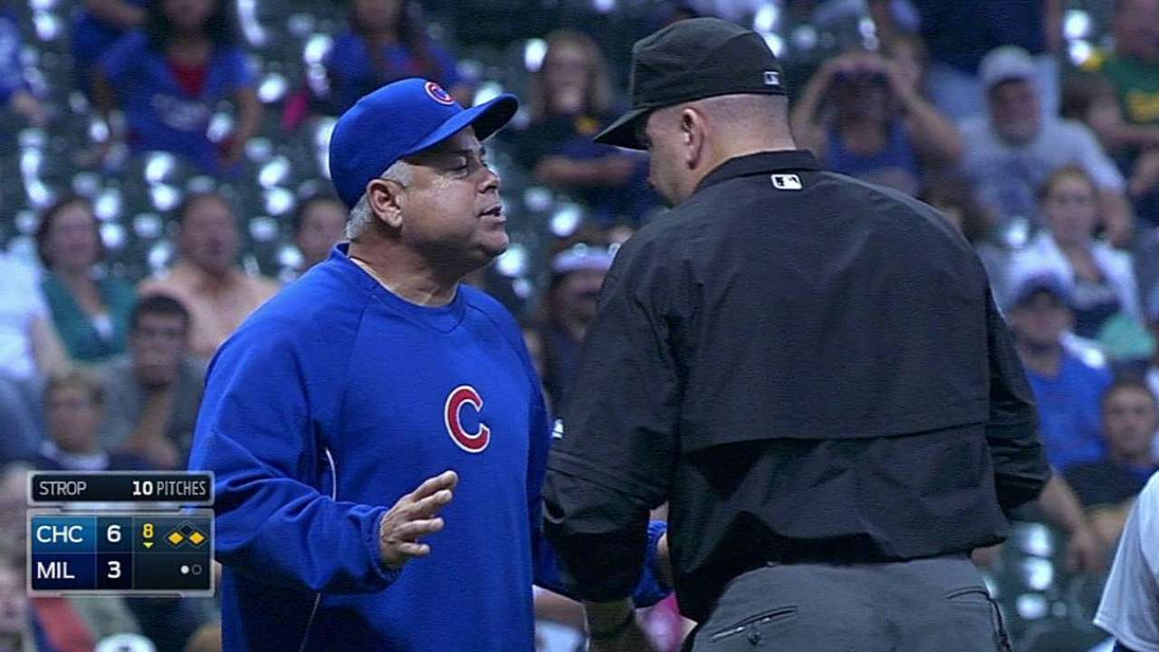 Renteria ejected after confusion over balk call