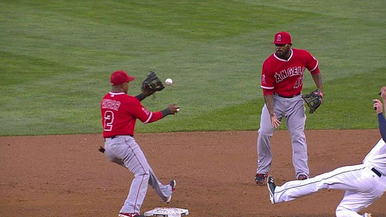Replay turns safe call into double play for Angels