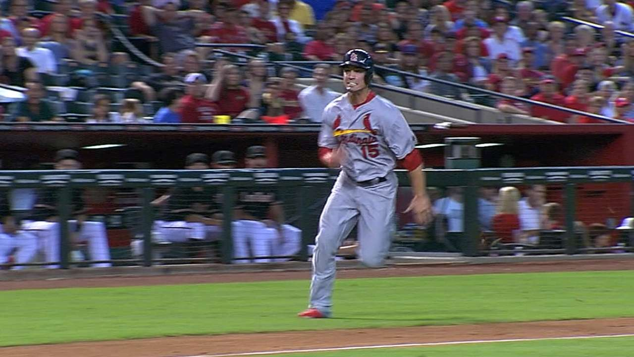 Grichuk hustles home from second on strikeout