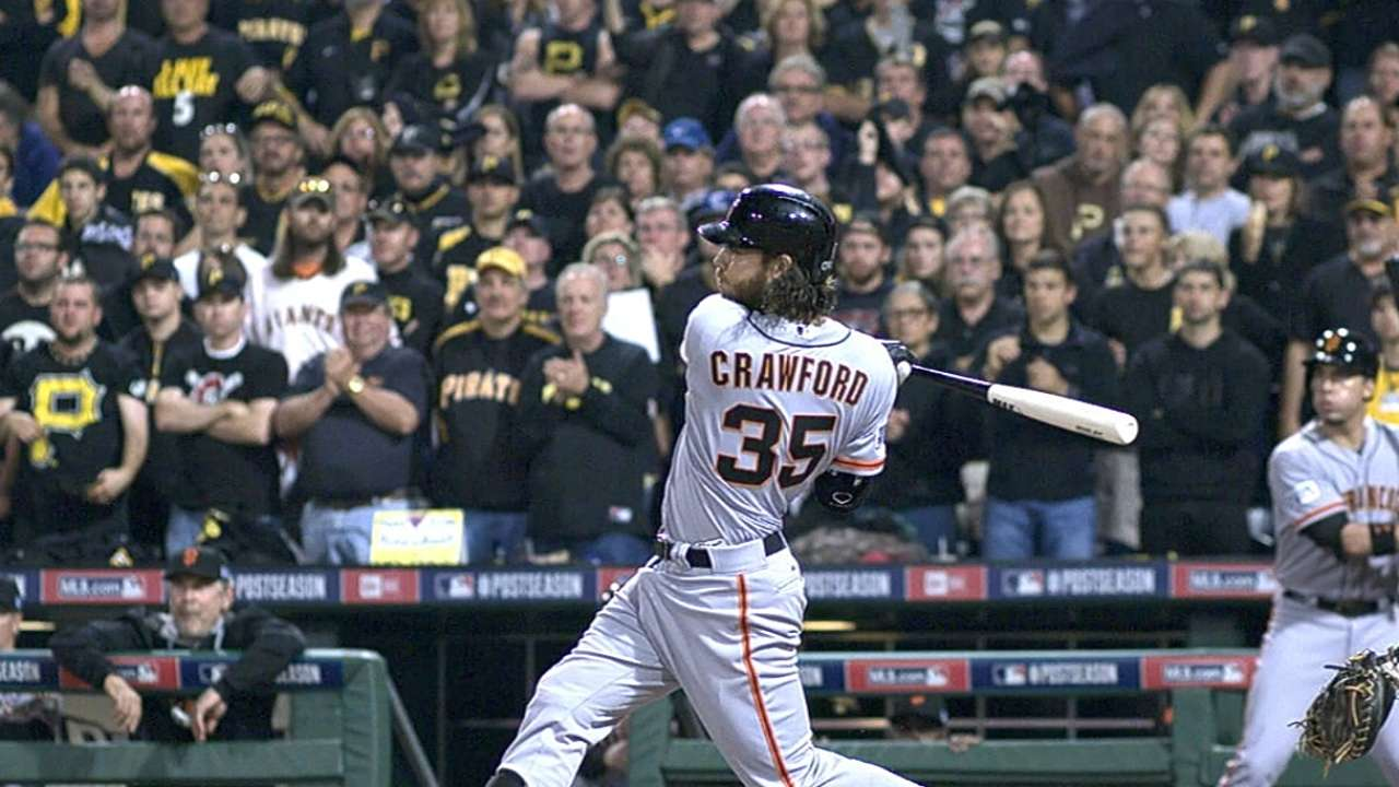 Crawford sparks Giants with first playoff slam by shortstop