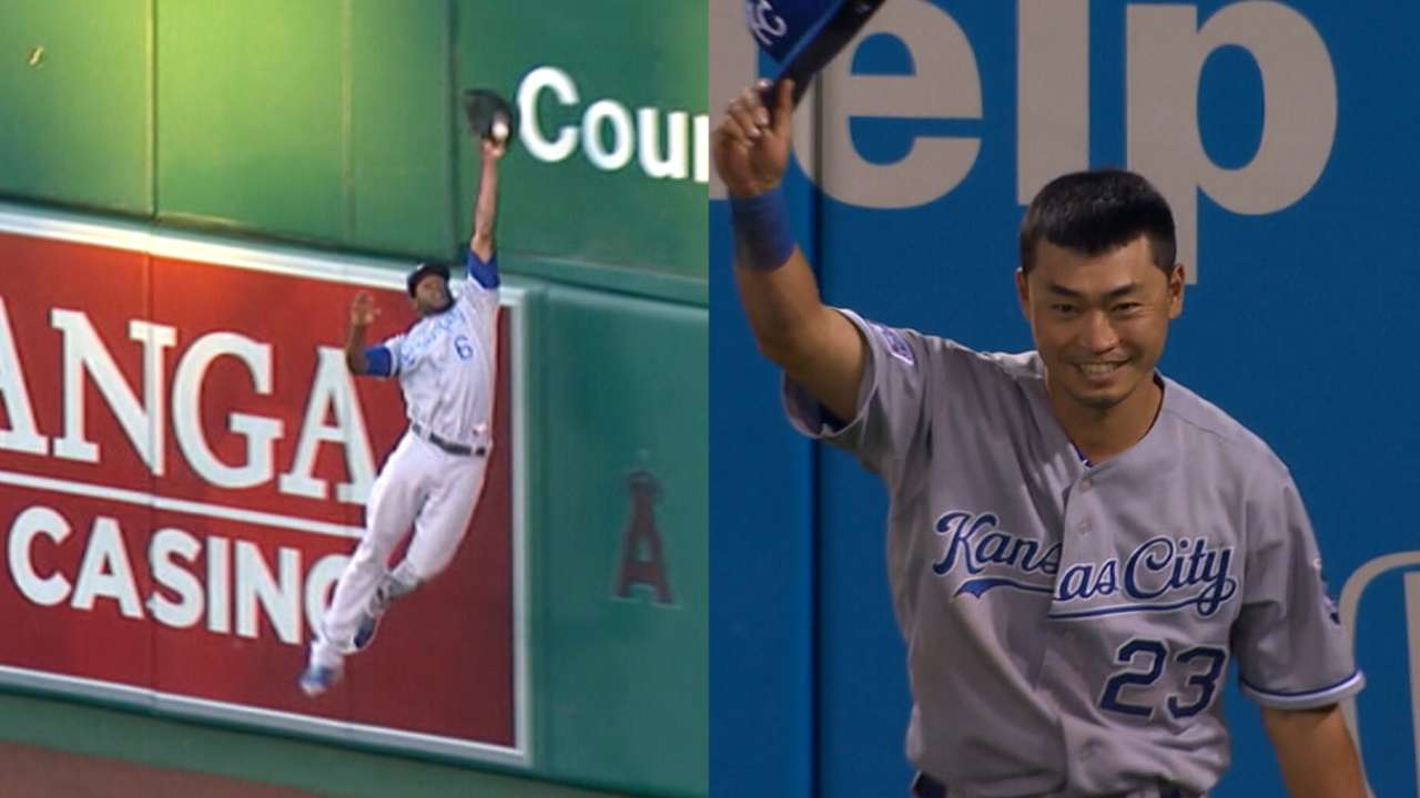 Angels in the outfield? For KC, it's Aoki and Cain