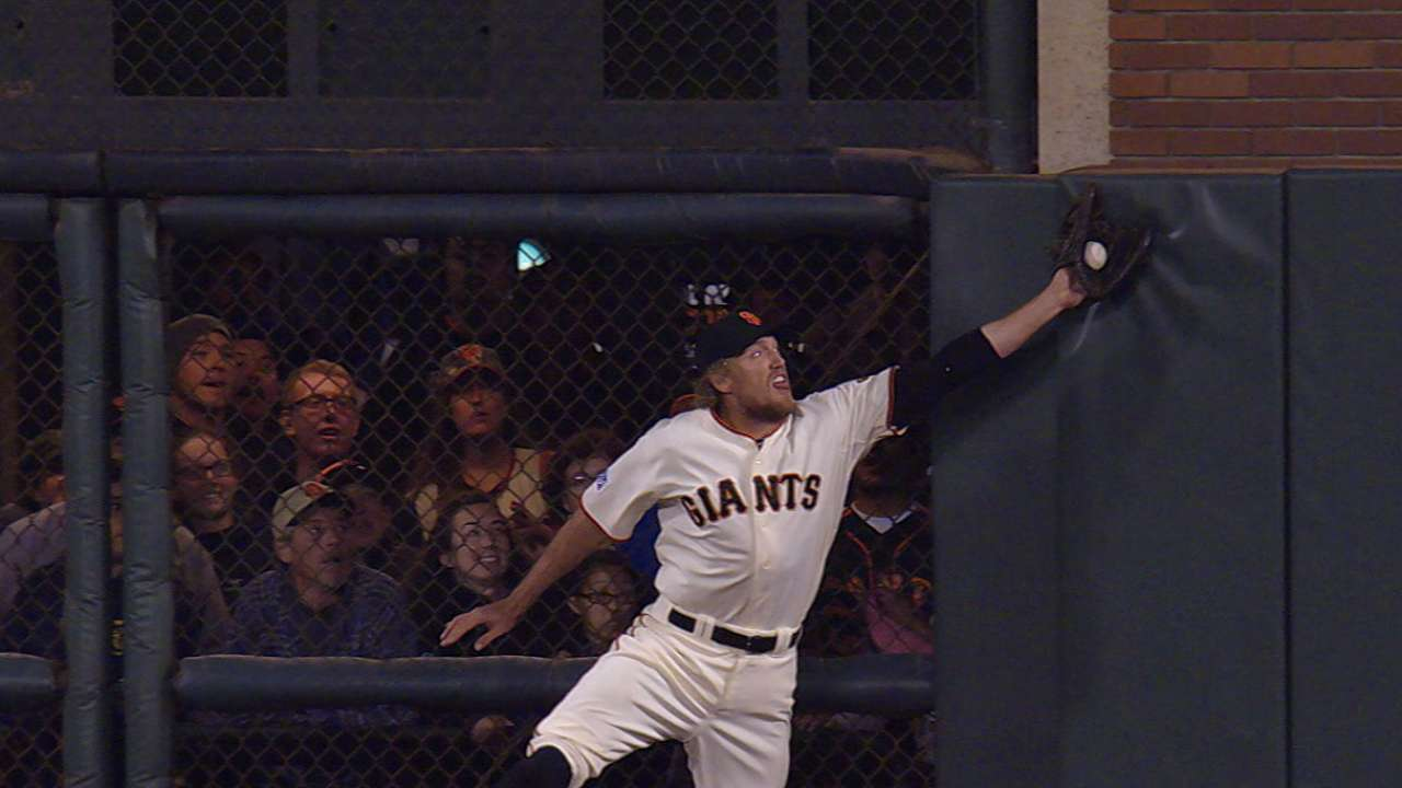 Pence's leaping catch