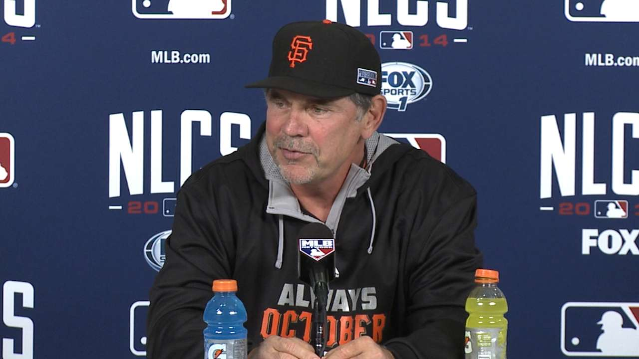 Oct. 10 Bruce Bochy workout day interview