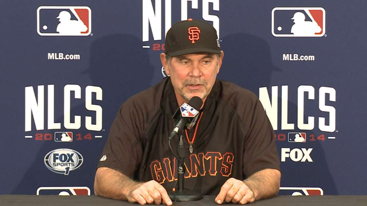 Oct. 13 Bruce Bochy workout day interview