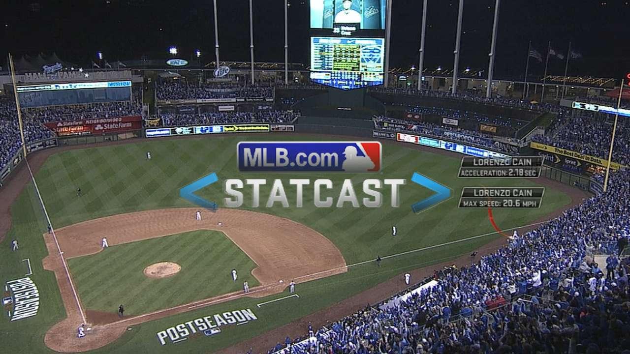 Statcast: Cain runs down foul