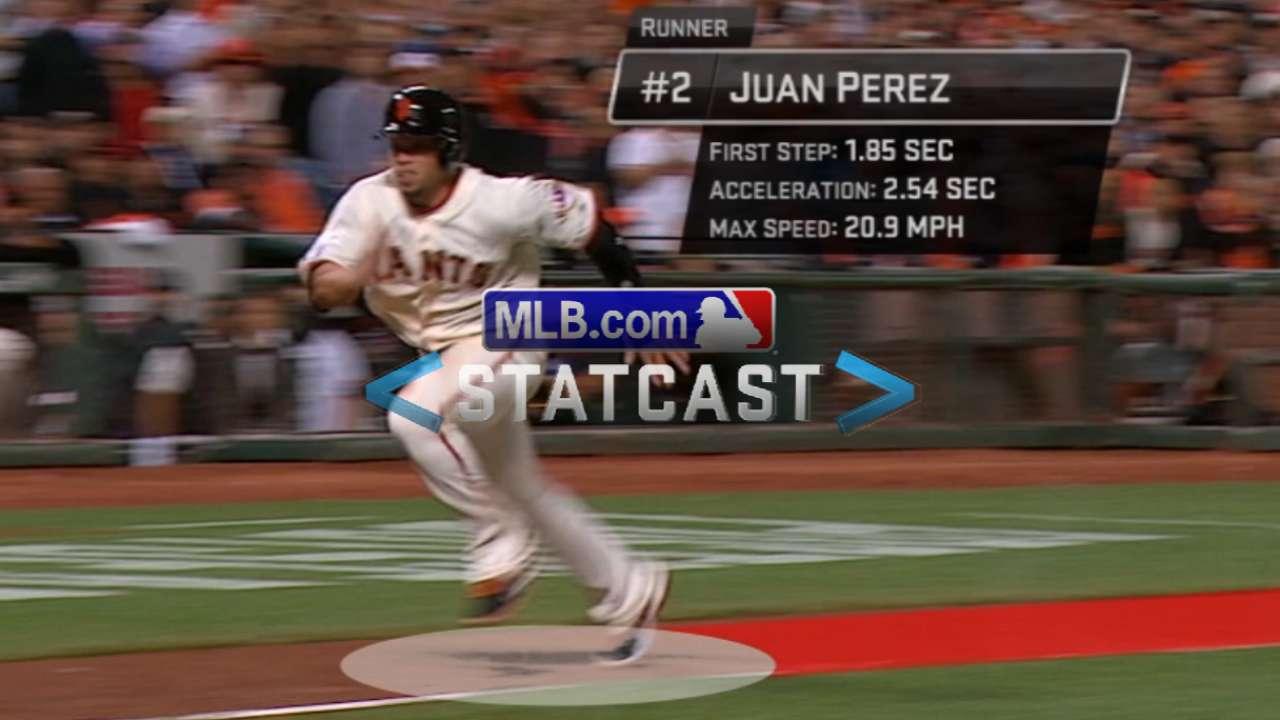 Statcast: Perez's sprint home sparks Giants' comeback
