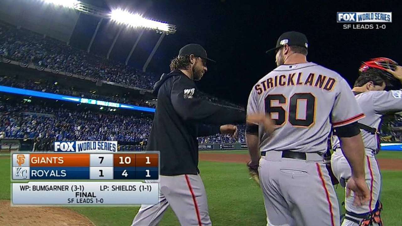 Game 1 work by Strickland pleases Giants