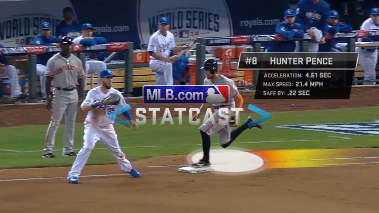 Statcast: Pence legs out single