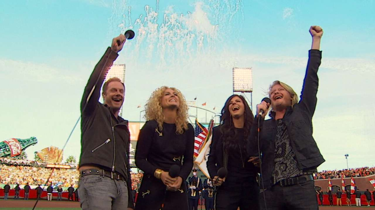 Little Big Town performs anthem