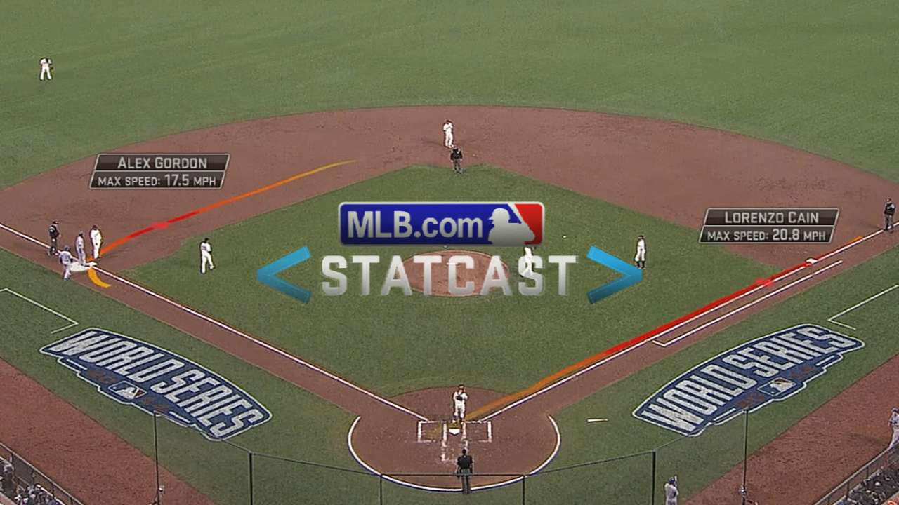 Statcast: Cain legs out single