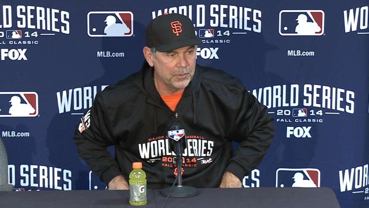 Oct. 27 Bruce Bochy workout day interview