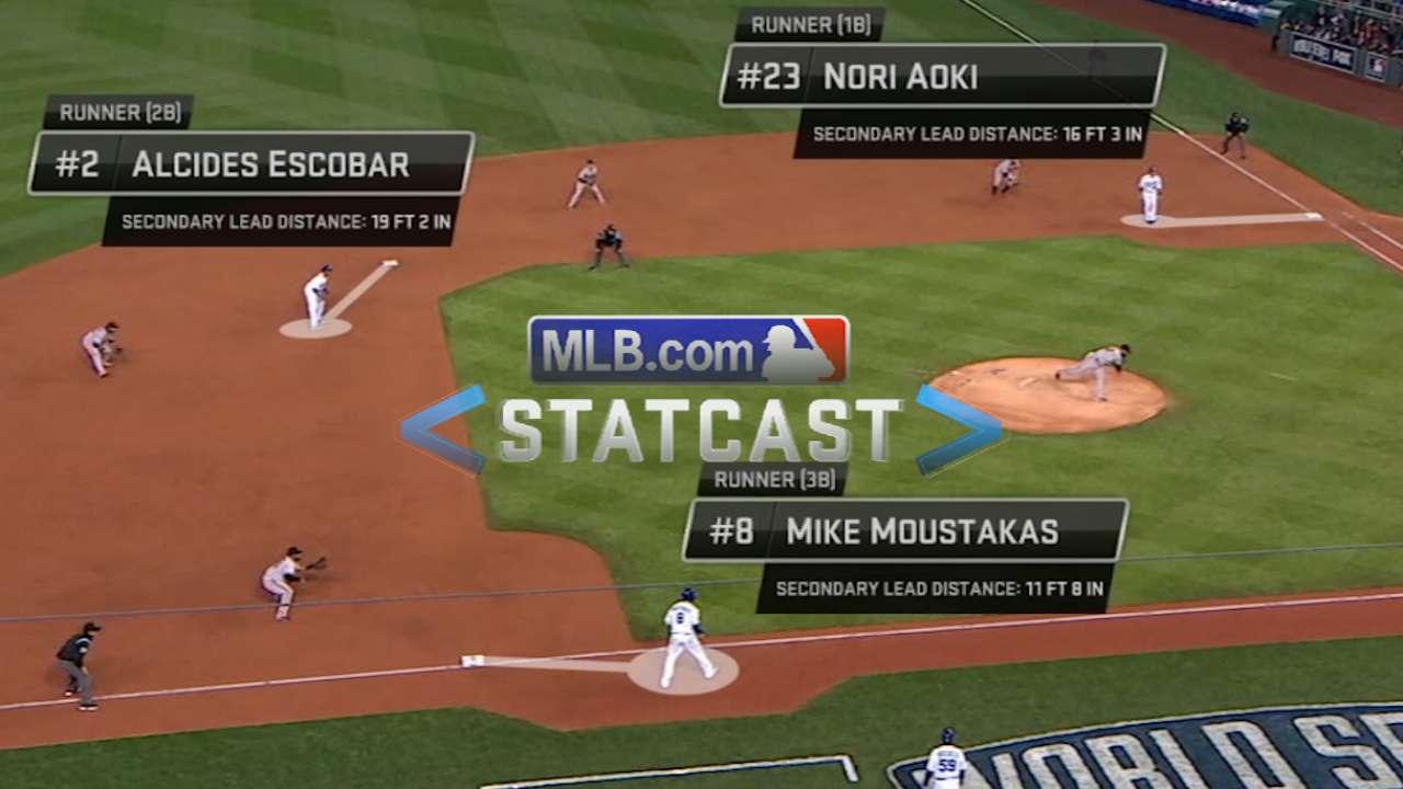 Statcast: Cain's bloop single breaks open Game 6
