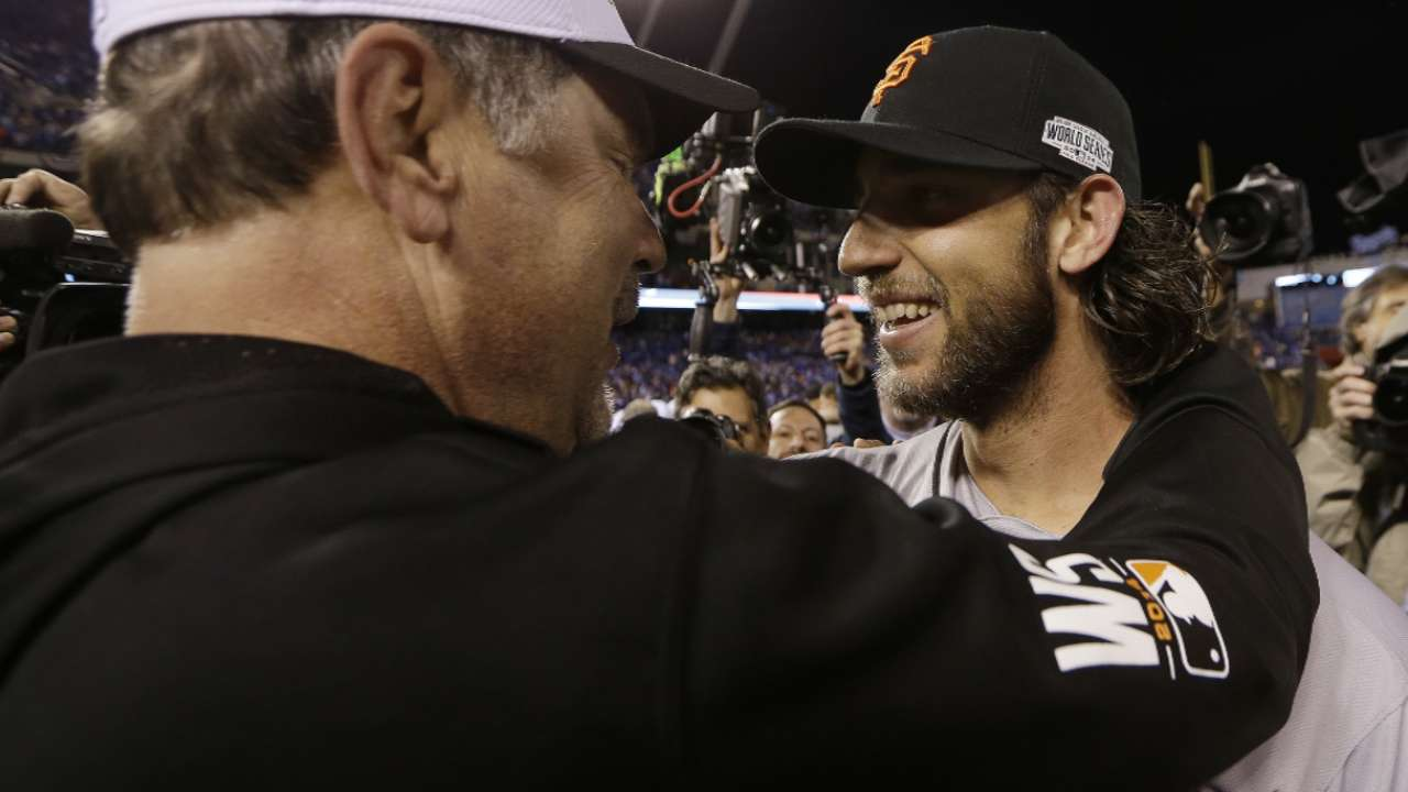 Bumgarner, Bochy on WS win