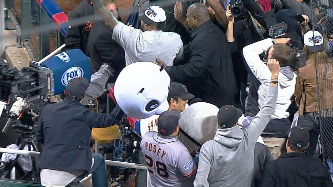 Sandoval celebrates with pandas