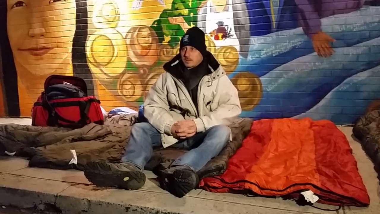 Cashman sleeps on street to support cause